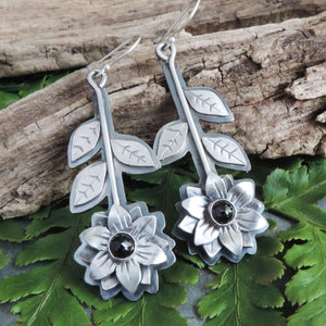 sterling silver red garnet flower earrings