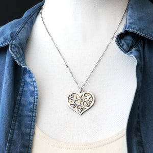 Silver and Brass Vine Design Heart Necklace
