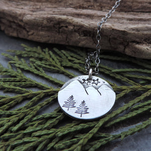 Minimalist Sterling Silver Mountain Necklace