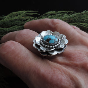 Triple Layer Flower Ring with Prince Turquoise Center - U.S. Size 8.25