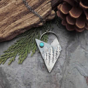 abstract mountain and pine tree pendant