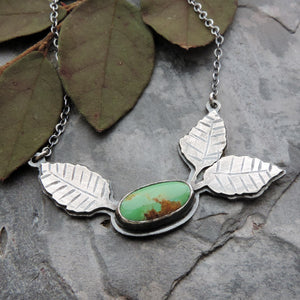 sterling silver leaves necklace with turquoise