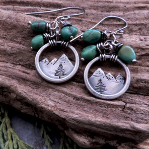 Silver Mountain Earrings with Turquoise Nuggets