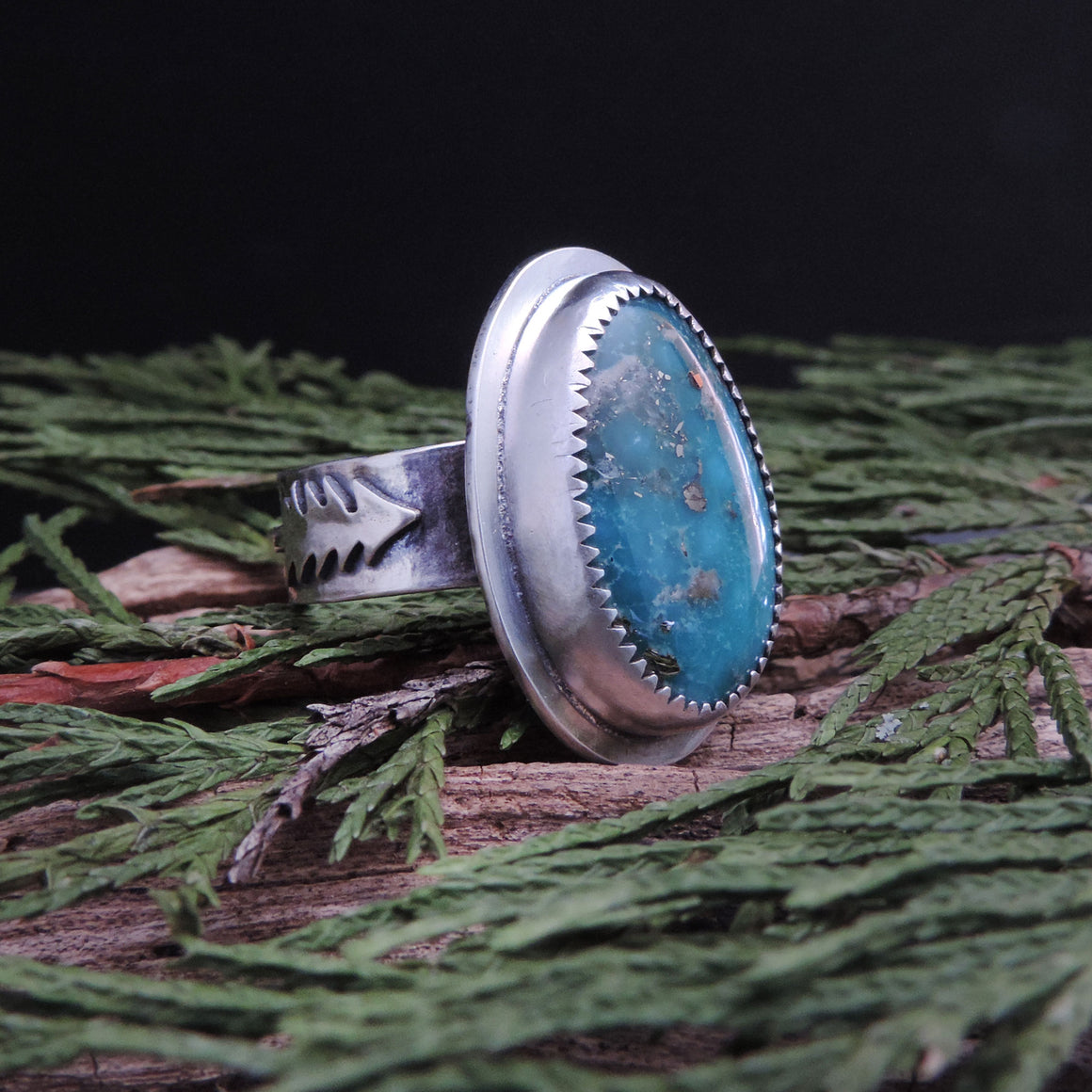 Whitewater Turquoise Pine Tree Ring - Size 8.5