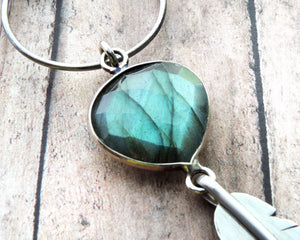 Labradorite Sterling Silver Feather Necklace