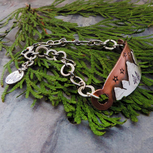 Copper and Silver Mountain Peaks Bracelet with Stars