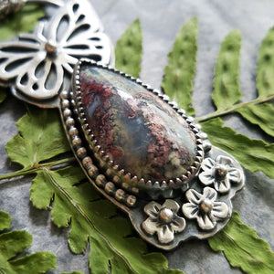 Butterfly Indonesian Moss Agate Necklace