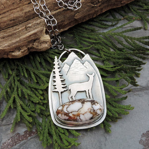 sterling silver mountain necklace with deer and gemstone
