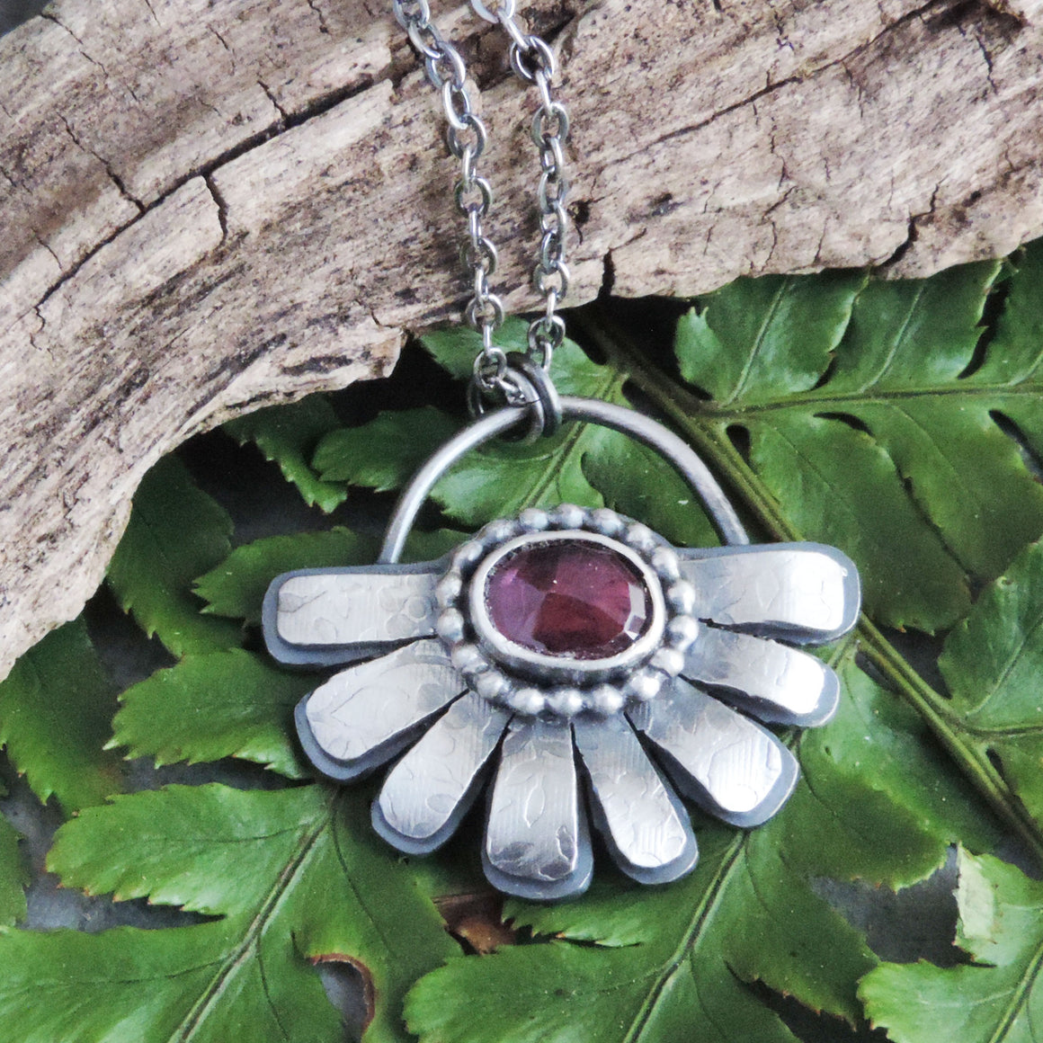sterling silver pink rhodolite flower necklace