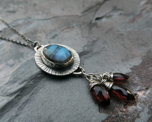 red garnet blue labradorite gemstone necklace