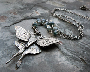sterling silver luna moth blue gemstone necklace