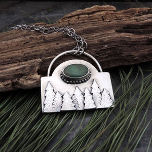 Pine Tree Forest with Sky Song Turquoise Necklace