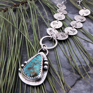 Tyrone Turquoise Necklace with Pine Tree Chain