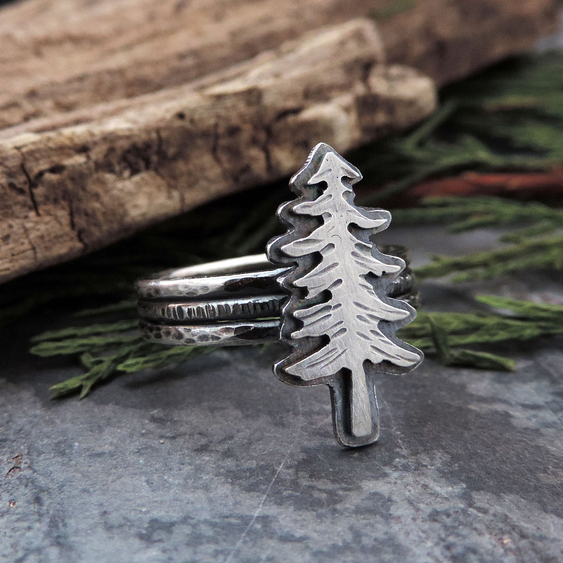 Sterling Silver Pine Tree Triple Band Ring - Size 8