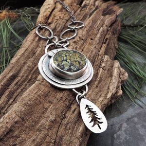 Tree Frog Variscite Pine Tree Necklace