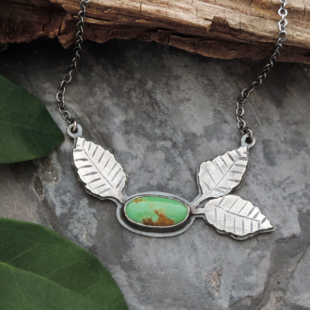 botanical necklace with leaves and turquoise
