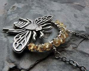 yellow citrine gemstones bee necklace