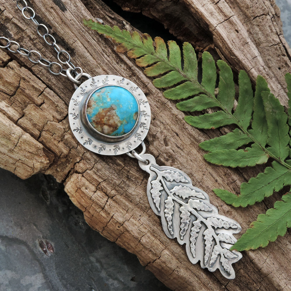 turquoise and fern sterling silver necklace