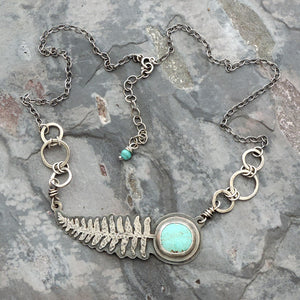 Fern Pendant with Kingman Turquoise Stone