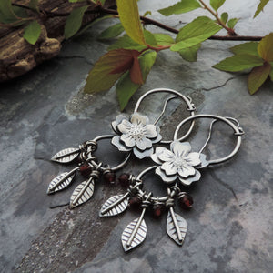 Flower Earrings on Wire with Leaves and Red Garnet