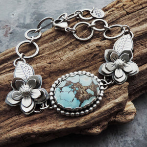 Sterling Silver Flower Bracelet with Lavender Turquoise