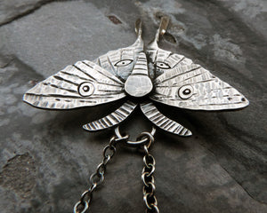 Sterling Silver Luna Moth Necklace