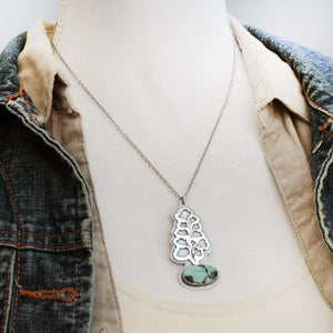 Maidenhair Fern Necklace with Emerald City Variscite Stone