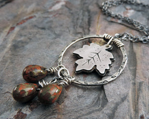 maple leaf pendant with moss green autumn red beads