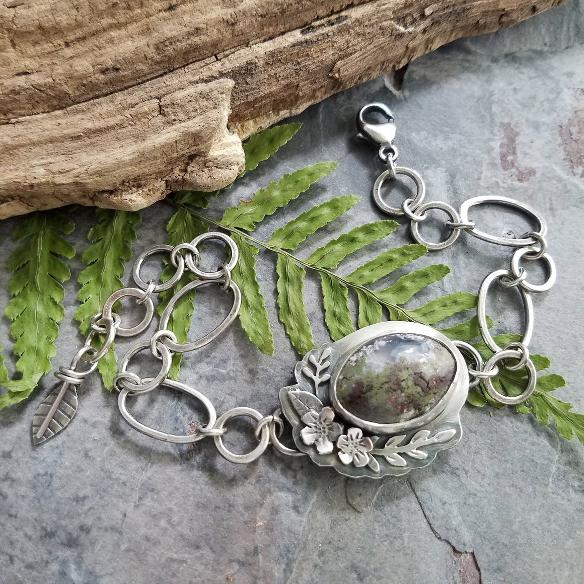 indonesian moss agate chain link bracelet