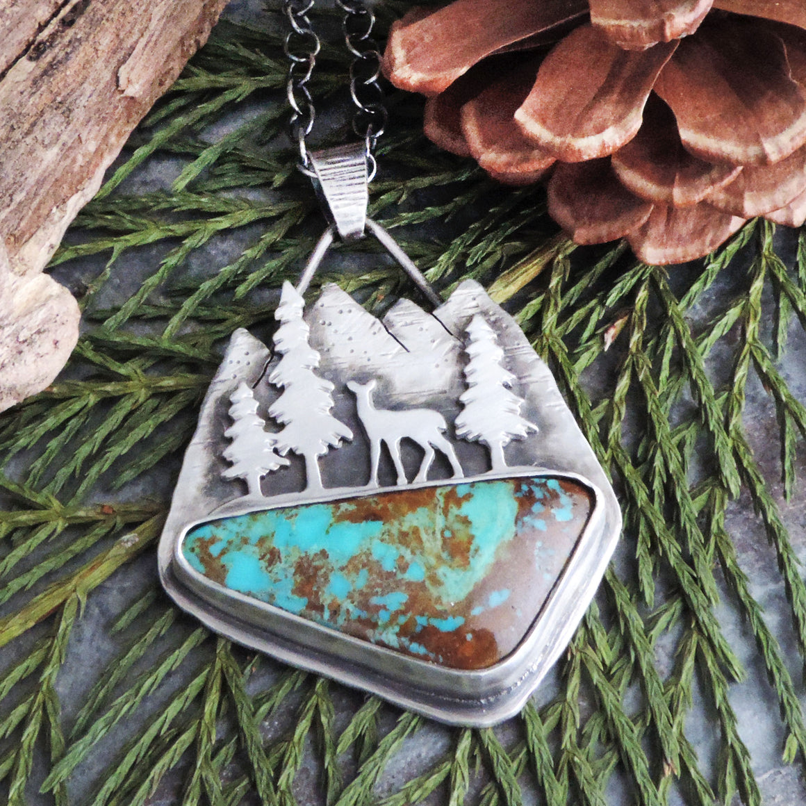 RESERVED - Deer in Mountain Forest Rising Phoenix Turquoise Necklace