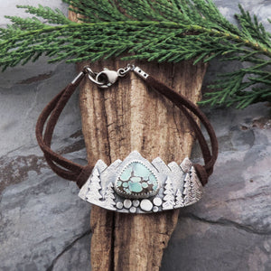 gemstone bracelet with mountains pine trees
