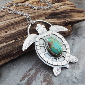 sterling silver and turquoise sea turtle necklace