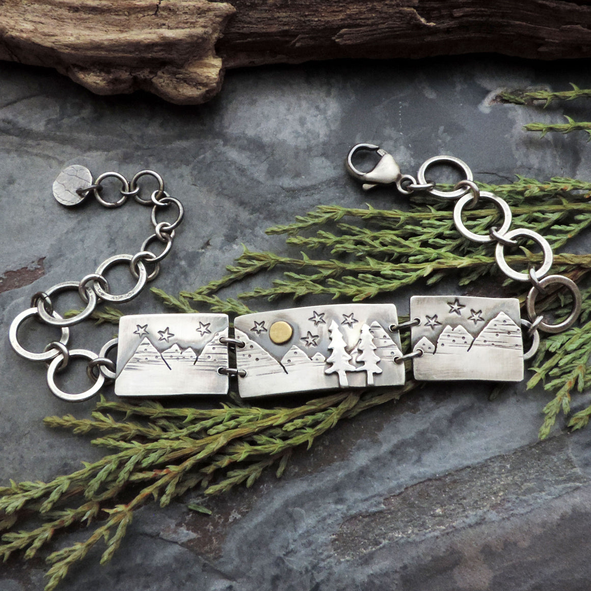 Triple Frame Mountain Bracelet with Pine Trees and Full Moon