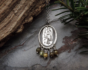 green agate explore pine tree charm necklace
