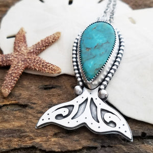 handmade whale tail pendant with turquoise