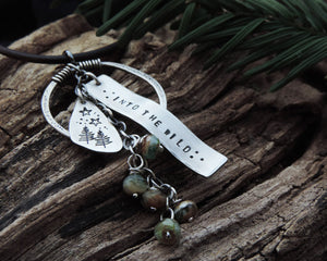 sterling silver explorer pine tree charm necklace