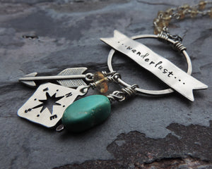 turquoise gemstone wanderlust compass necklace