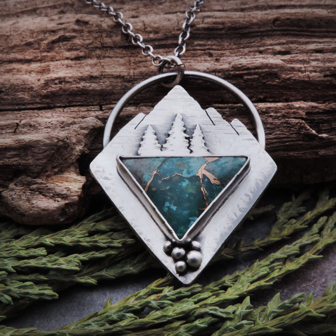Mountain Necklace with Triangle Chrysocolla Stone