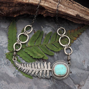 kingman turquoise sterling silver fern necklace