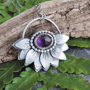purple amethyst silver flower necklace