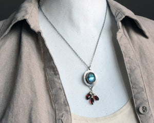 Labradorite and Garnet Bezel Necklace