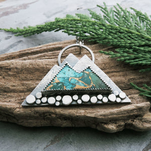 Chrysocolla Mountain Stone Pendant with Pine Tree Cut Out
