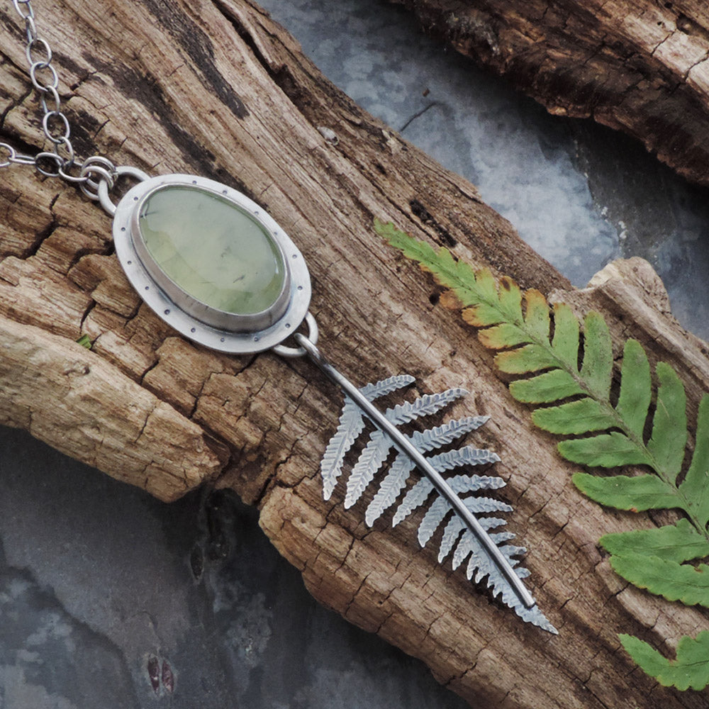 green prehnite sterling silver fern necklace