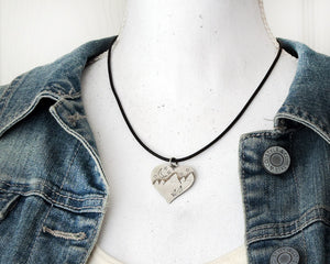Sterling Silver Mountain Heart Necklace