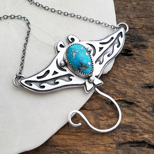 Stingray Pendant Necklace with Whitewater Turquoise