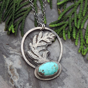 sterling silver fern necklace with turquoise stone
