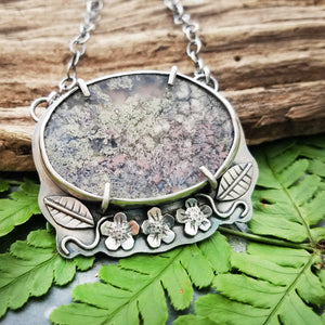 flower garden moss agate silver necklace