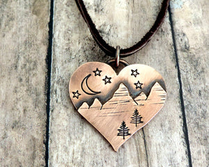 Heart Shape Night Sky Mountain Necklace
