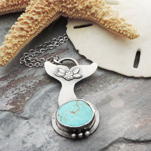 whales tail turquoise pendant necklace