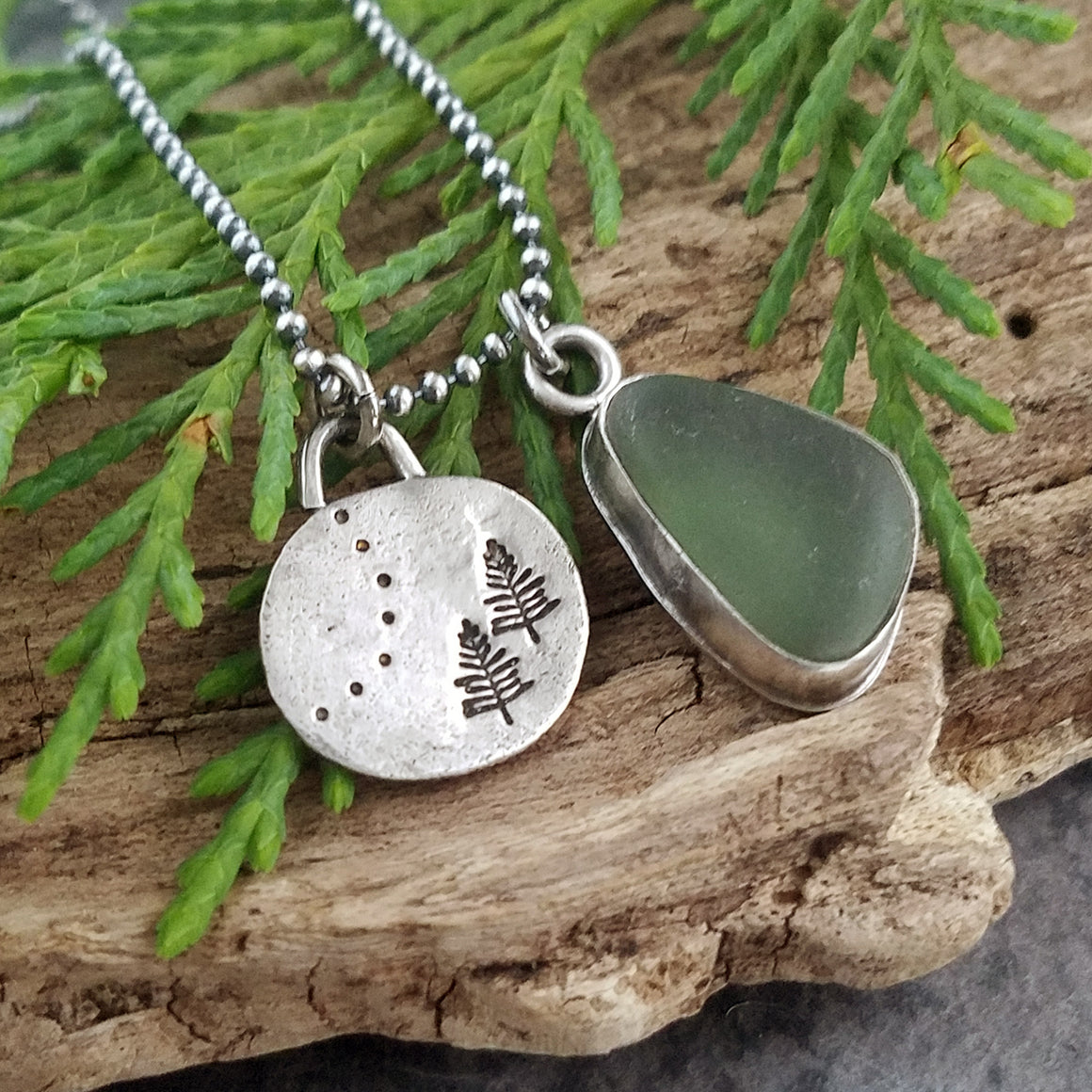 Recycled Silver Pine Tree and Sea Glass Necklace #2